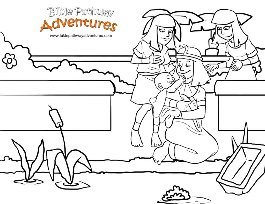 Bible Coloring Page: Moses and the Princess | Free Download
