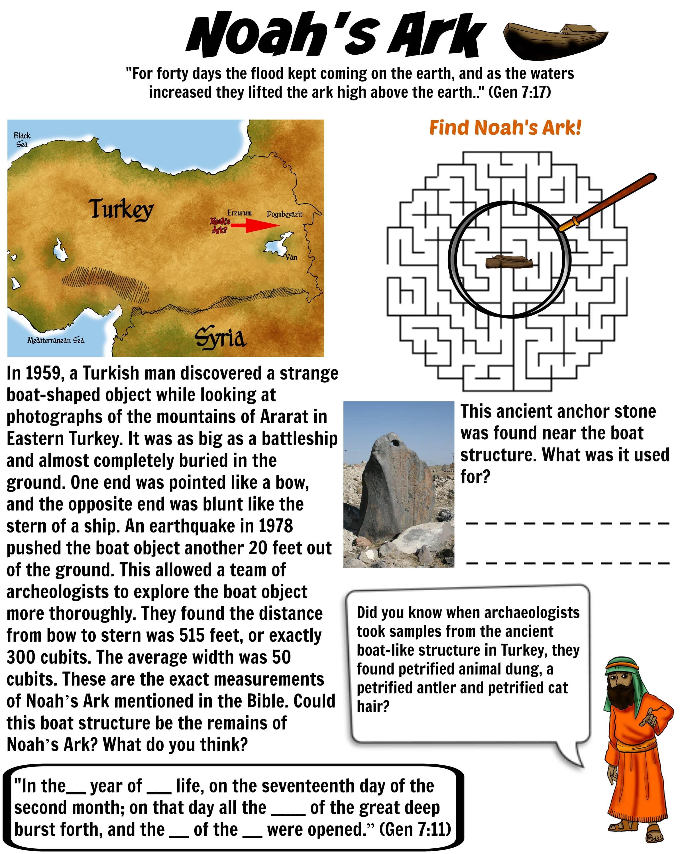 Noah's Ark evidence Bible worksheet for Kids | Free Download