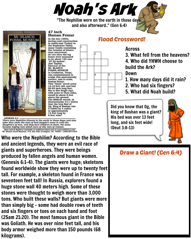 Noah S Ark Nephilim Giants Worksheet For Kids Free