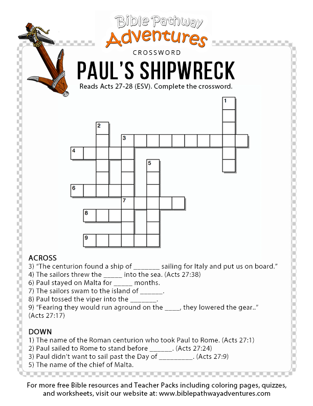 bible crossword puzzle  paul u0026 39 s shipwreck