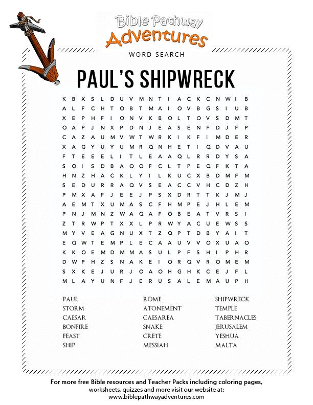 Bible Word Search Paul 39 s Shipwreck