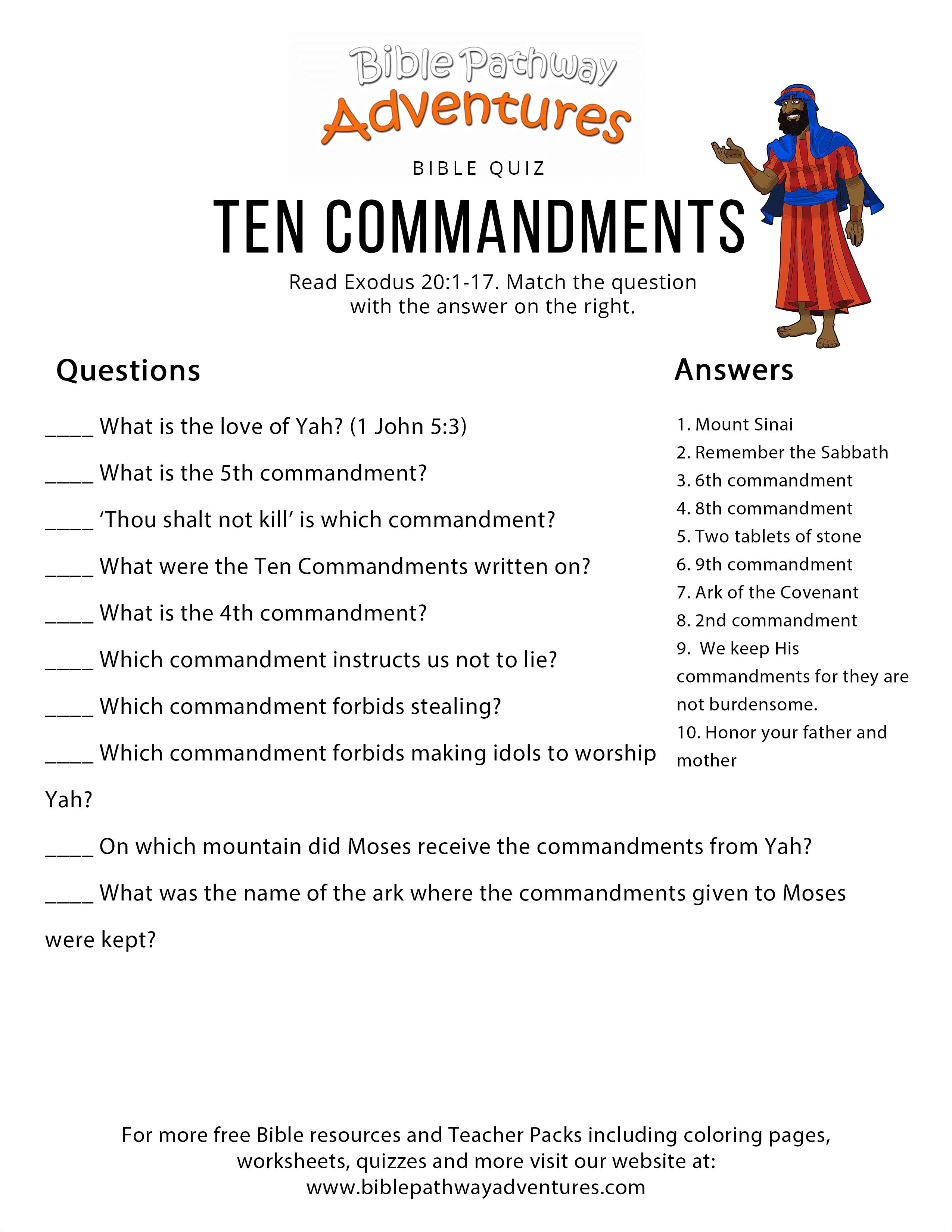 Worksheets Ten Commandments Worksheets ten commandments bible pathway adventures project description