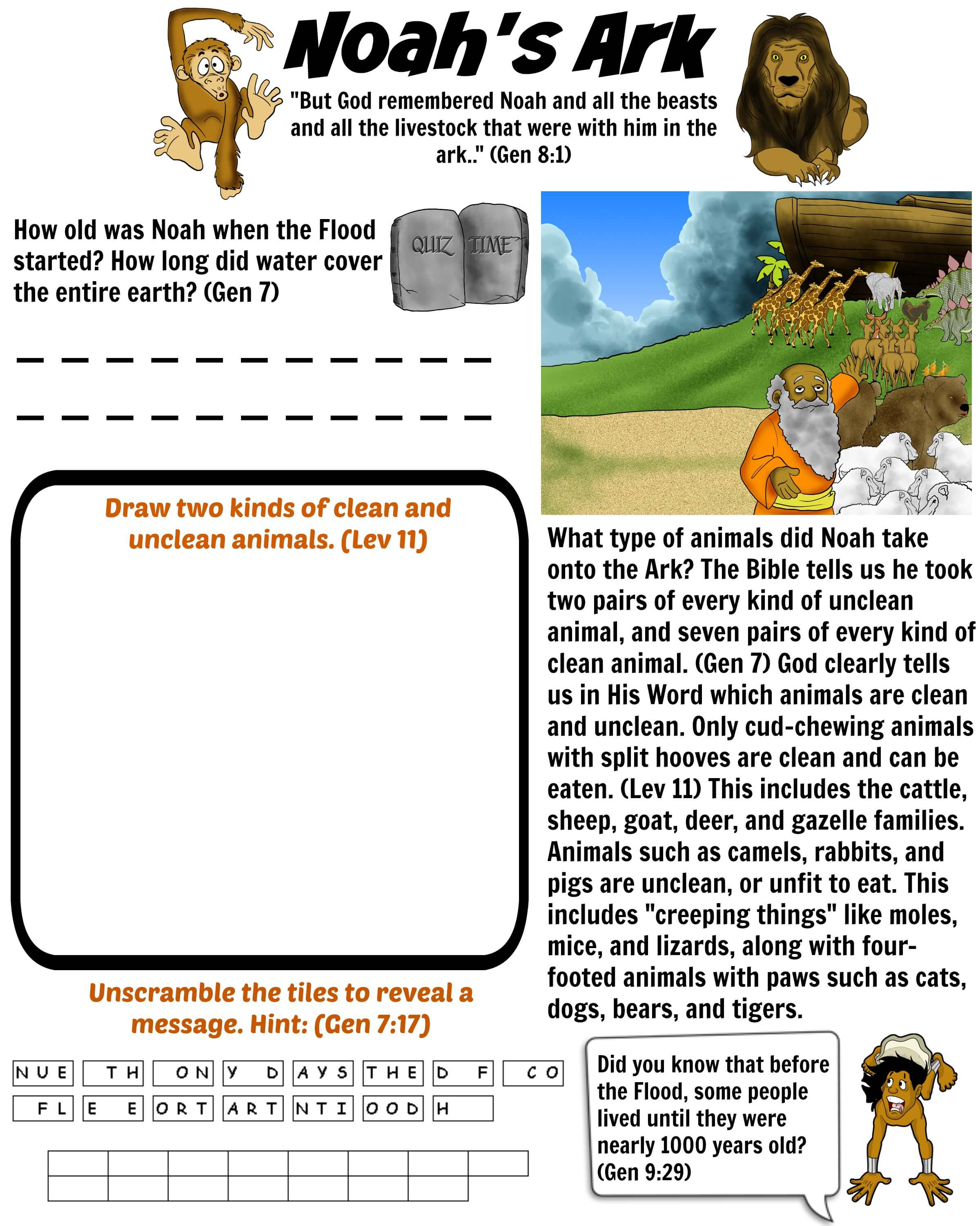 Noah 39 s Ark Bible worksheet for kids Free Download