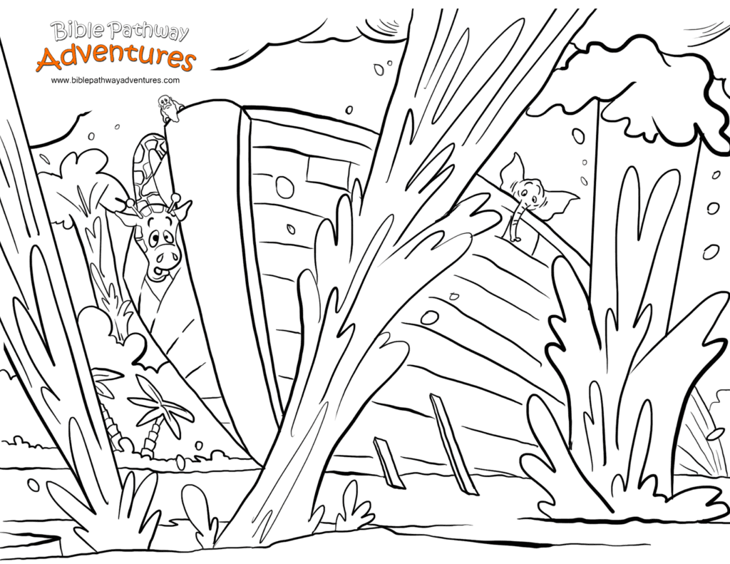 Free Bible Story Coloring Page Noah's Ark The Flood