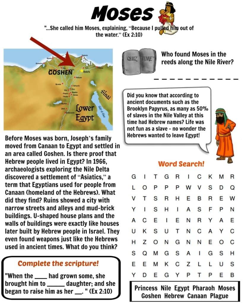 Printable Moses Bible Worksheet Free Download