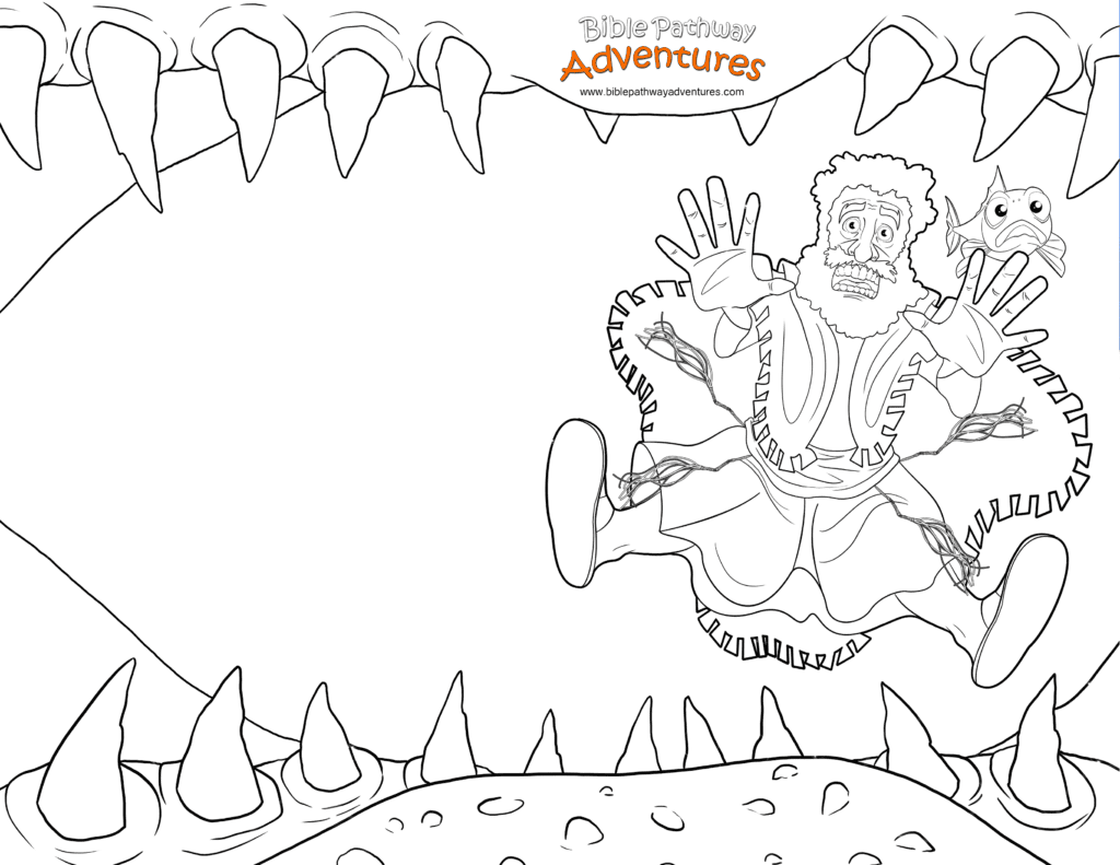 Swallowed By A Fish Jonah coloring page Free Download