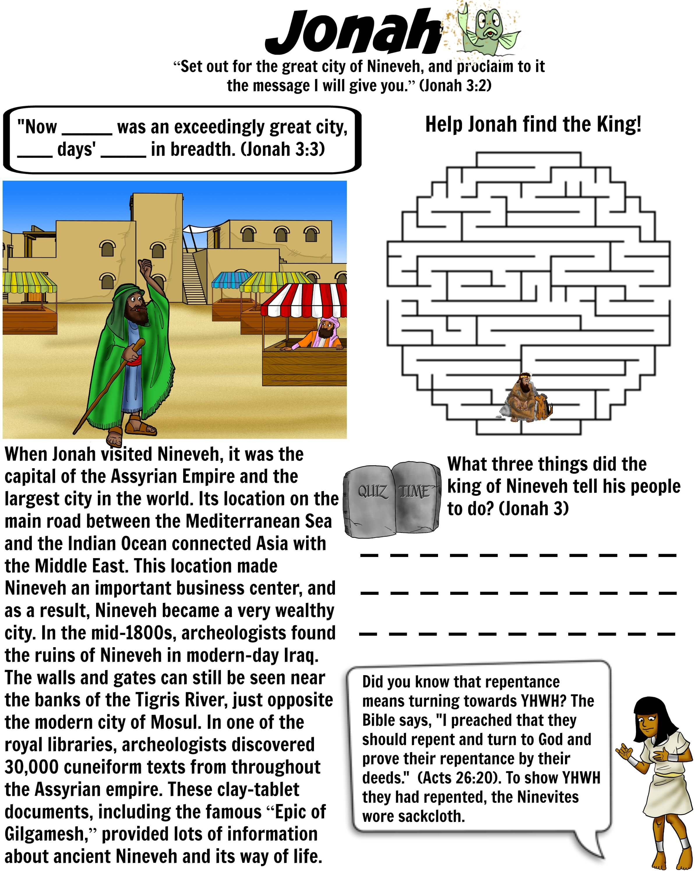 Printable Biblical Worksheets : Jonah goes to nineveh bible worksheet free download