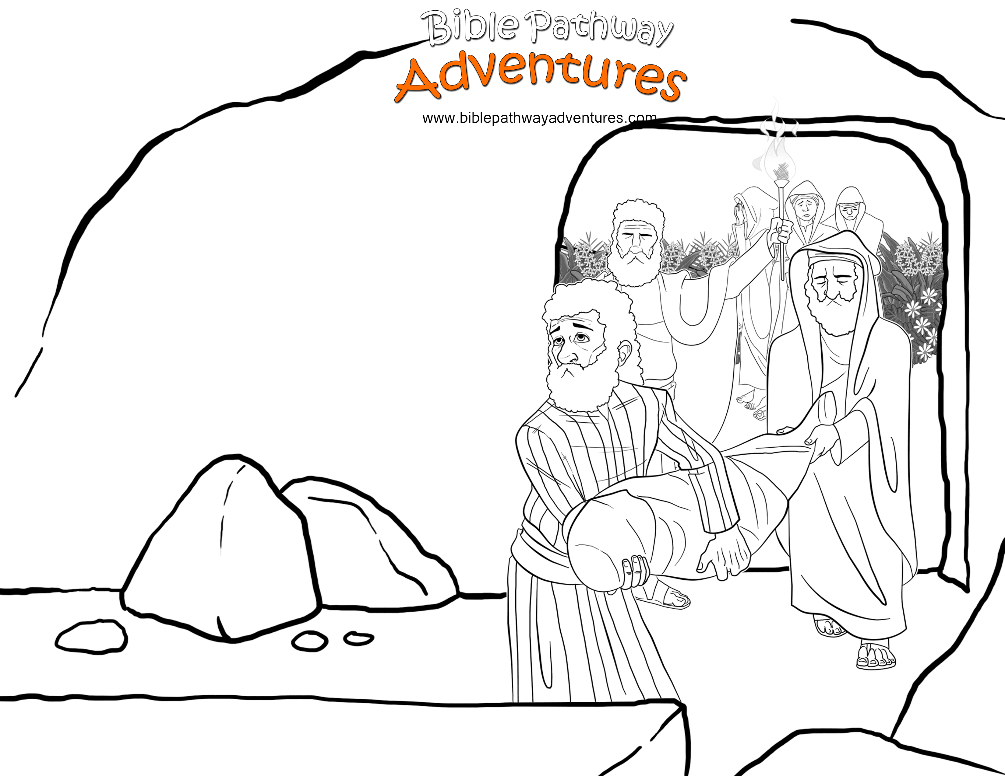 Bible Coloring Page: Yeshua into the Tomb | Free Download
