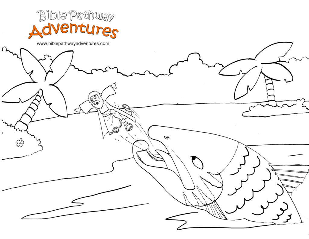 Jonah and the big fish coloring page free download for Jonah bible coloring pages