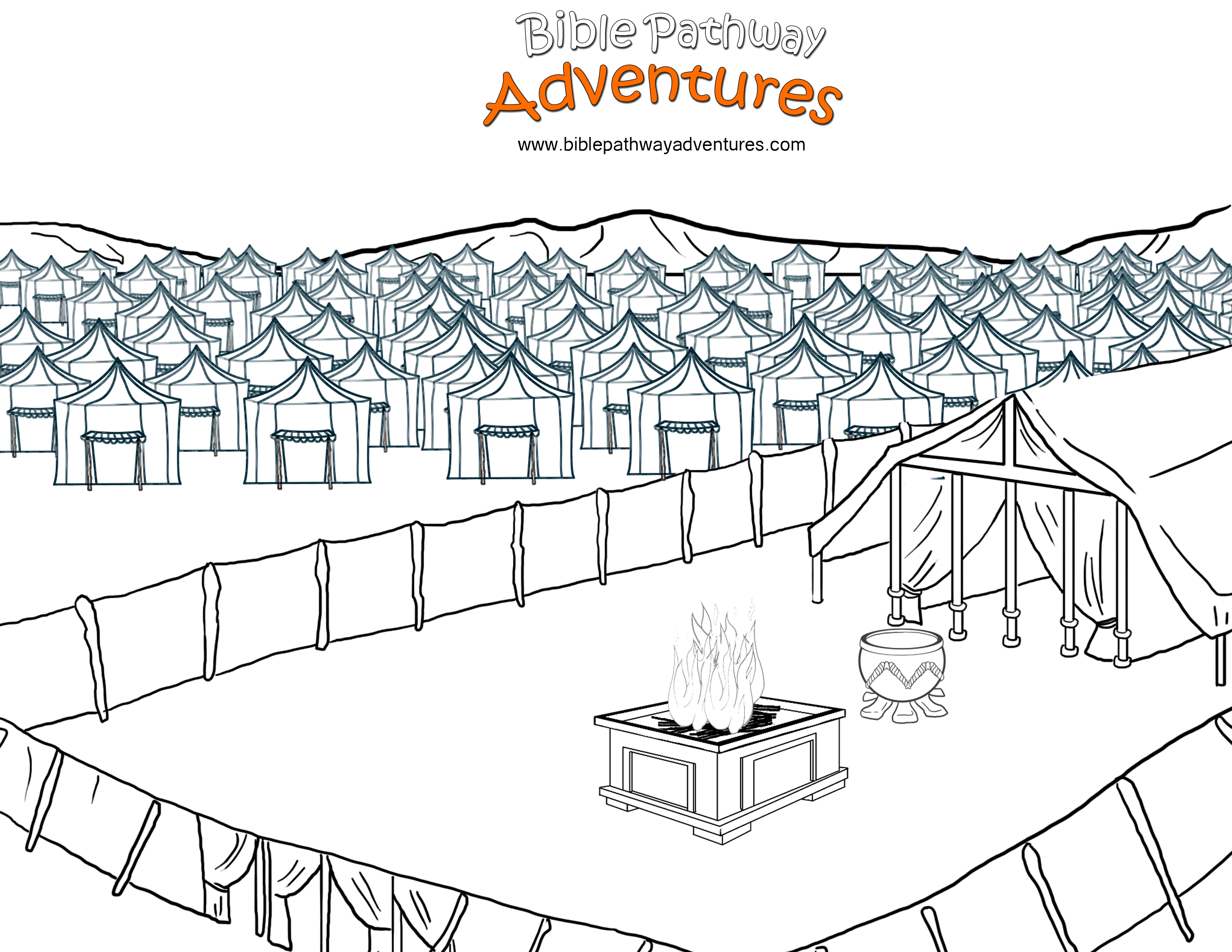 Free Bible Coloring Page: Tabernacle in the Wilderness
