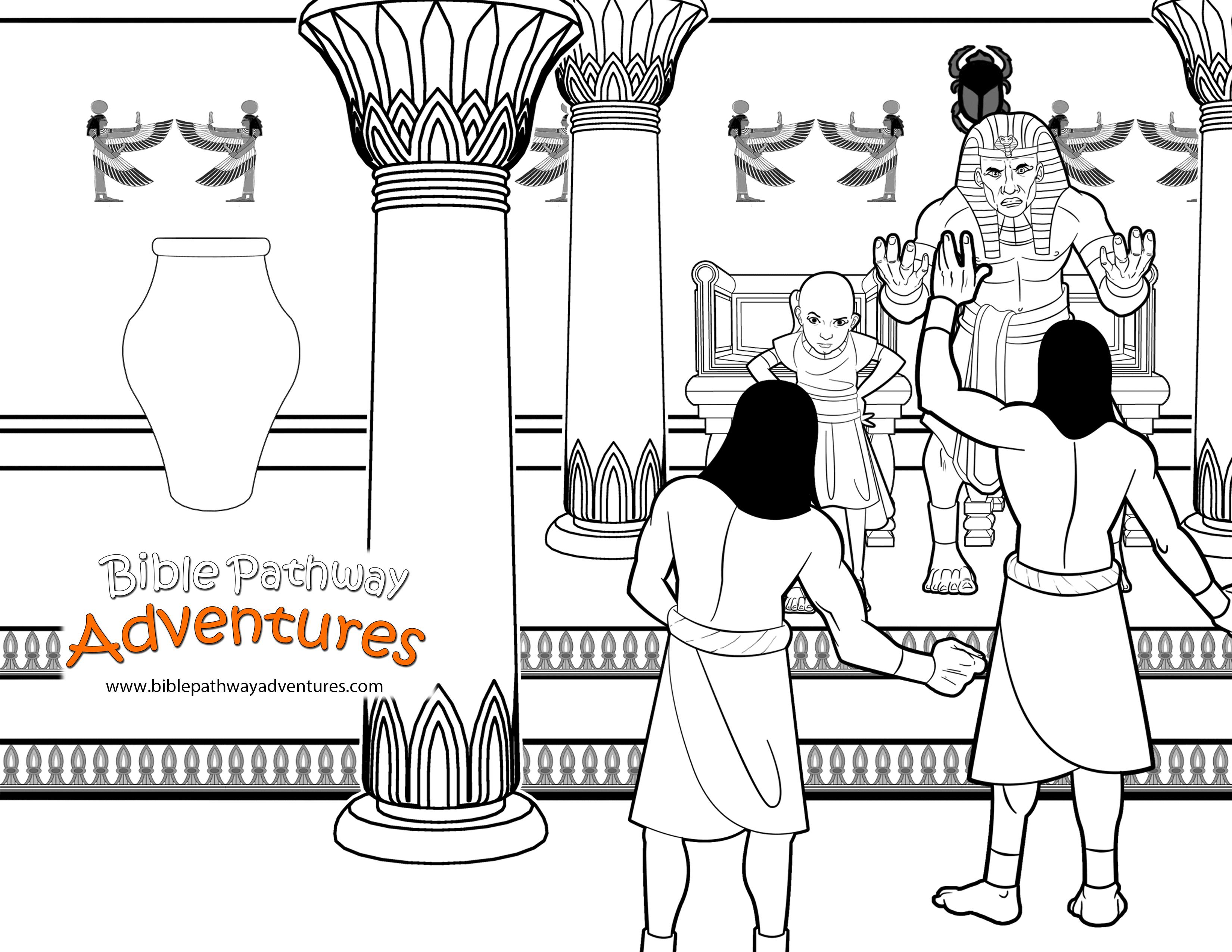 Free Bible Coloring Page Pharaoh And His Magicians