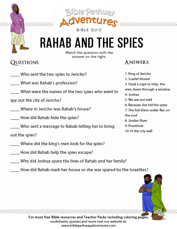 Bible Quiz For Kids Rahab And The Spies