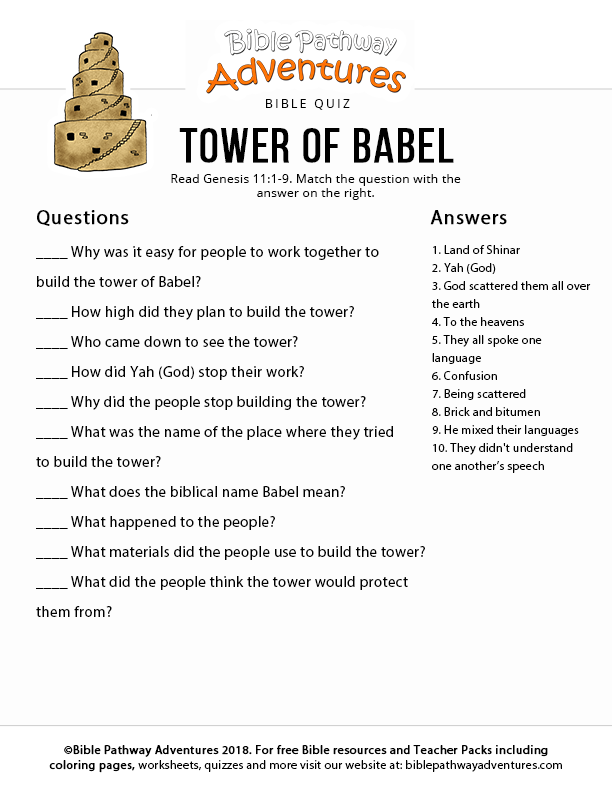 picture regarding Free Printable Christmas Bible Trivia known as Tower of Babel Bible Pathway Adventures