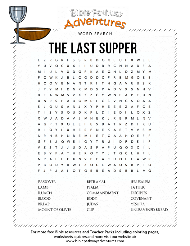 Project Description Enjoy Our Free Bible Word Search The Last Supper