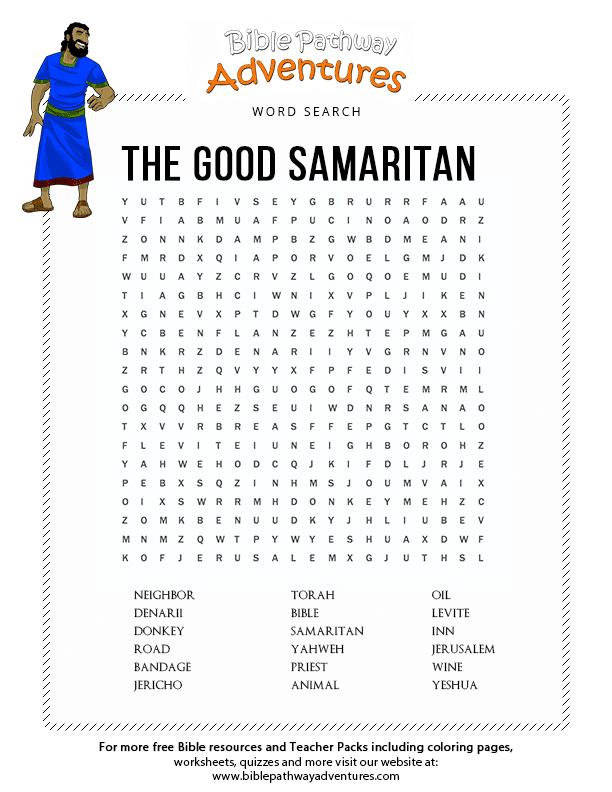 Bible Word Search The Good Samaritan