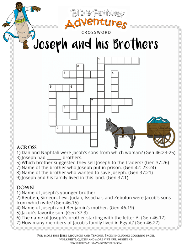 Bible Crossword Puzzle Joseph And His Brothers