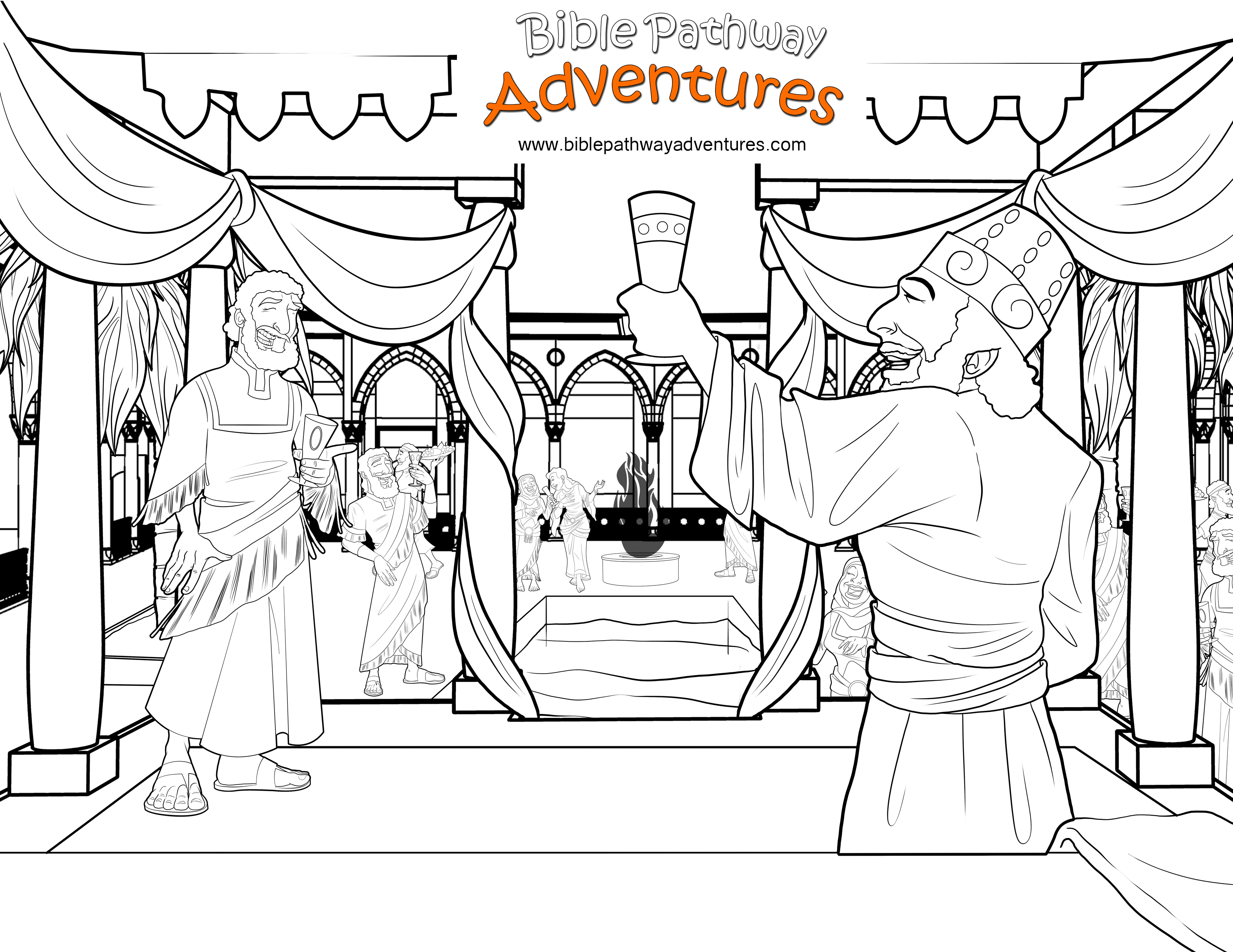 Bible Coloring Page Party With The King Of Persia