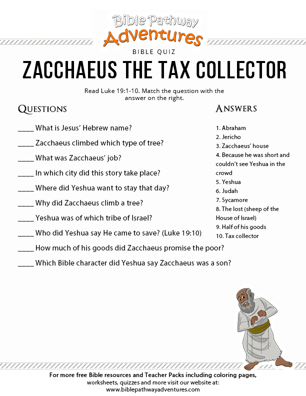 Zacchaeus the Tax Collector – Bible Pathway Adventures