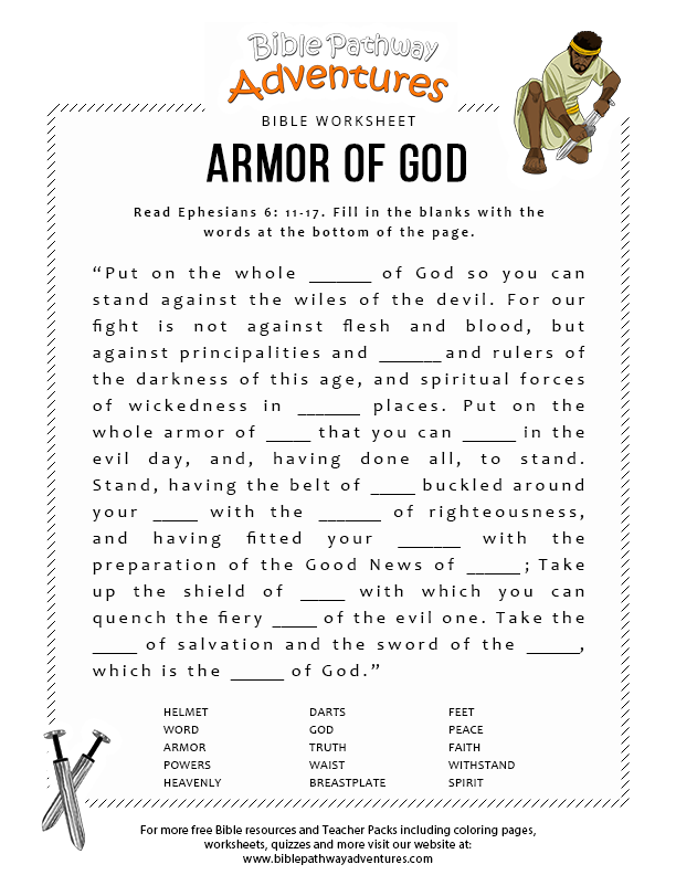 Armor Of God Fill In The Blanks Bible Pathway Adventures