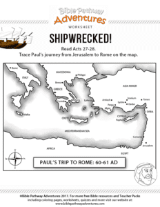 Free Bible lesson for kids Shipwrecked Paul 39 s final