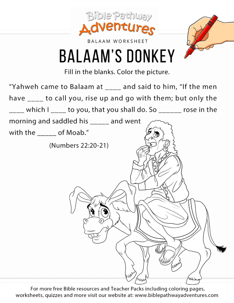 Balaam 39 s Donkey worksheet and coloring page Free Download