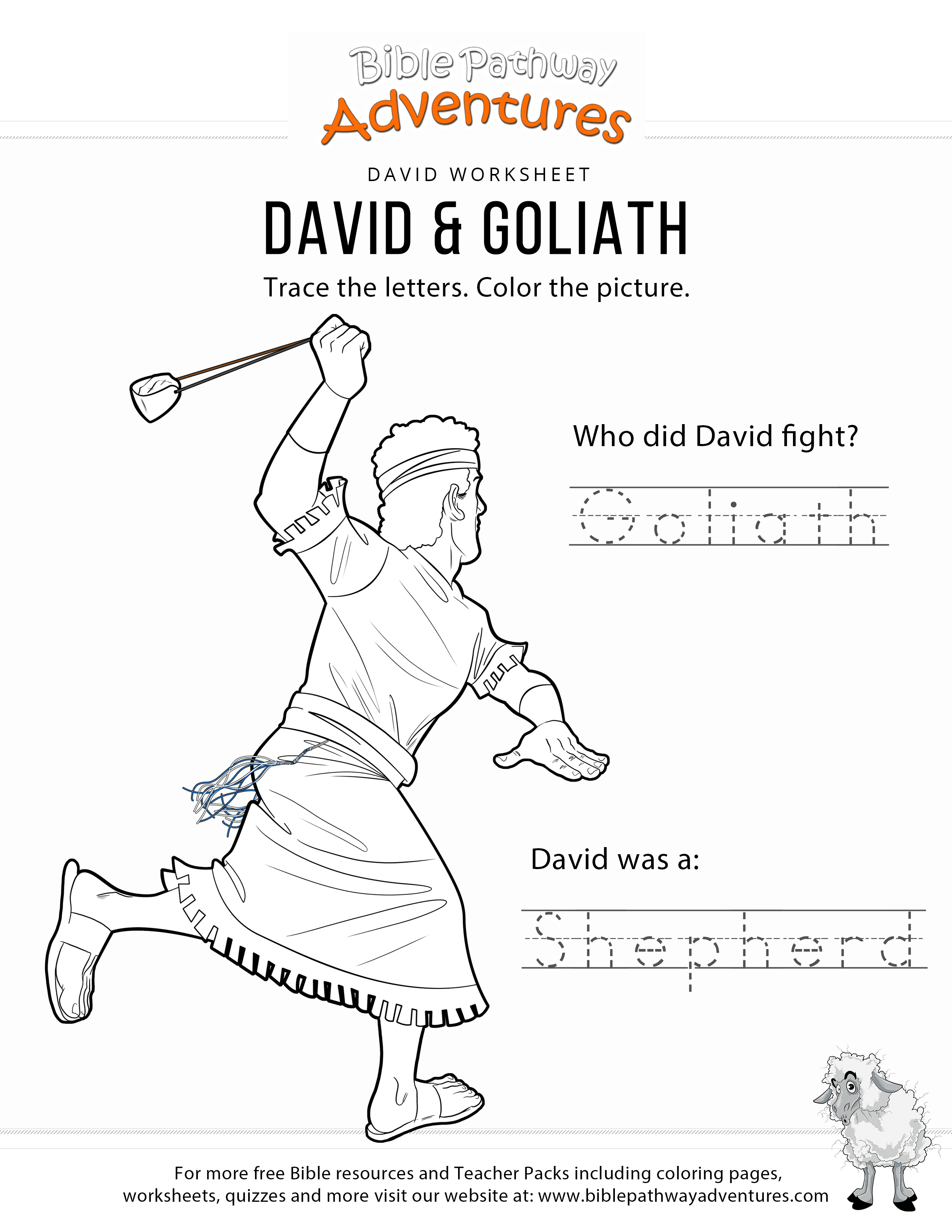 David Goliath Copy And Coloring Page Bible Pathway Adventures