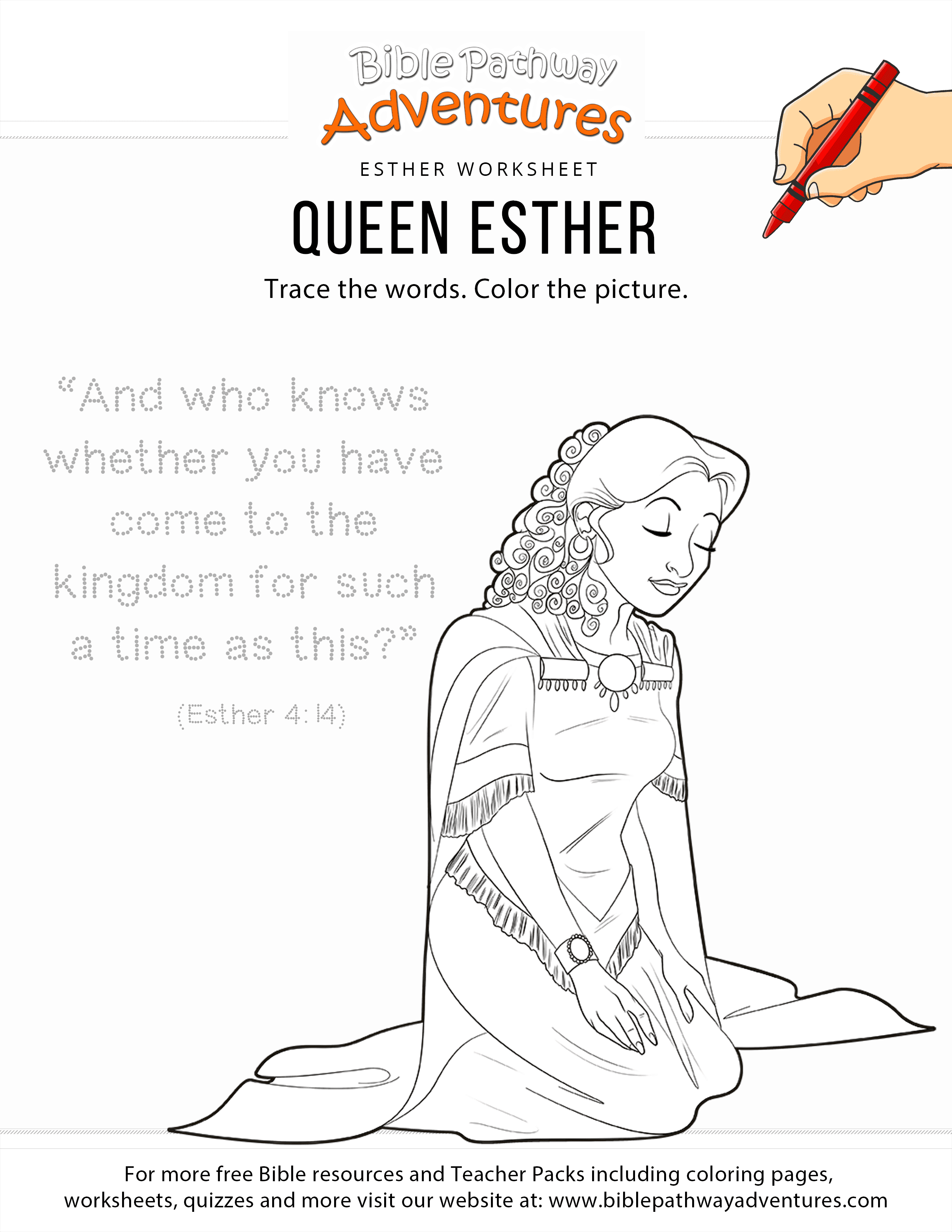 esther copywork and coloring page – Bible Pathway Adventures