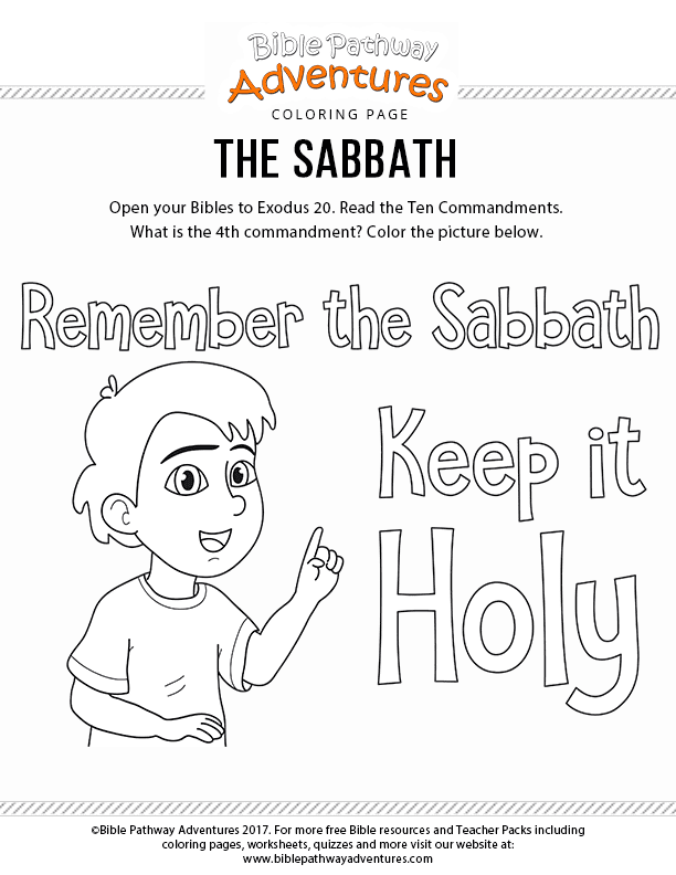 The Sabbath Bible coloring page for kids | Free download