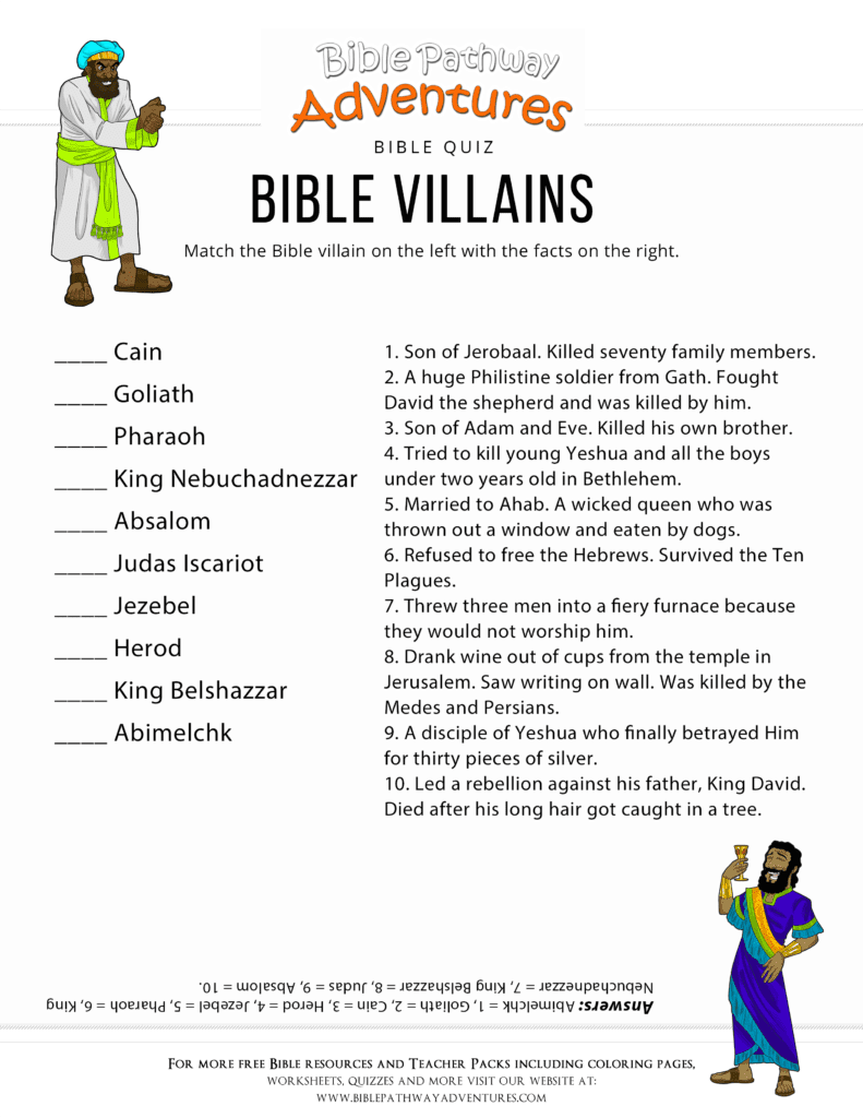 Bible Villains Quiz for Kids
