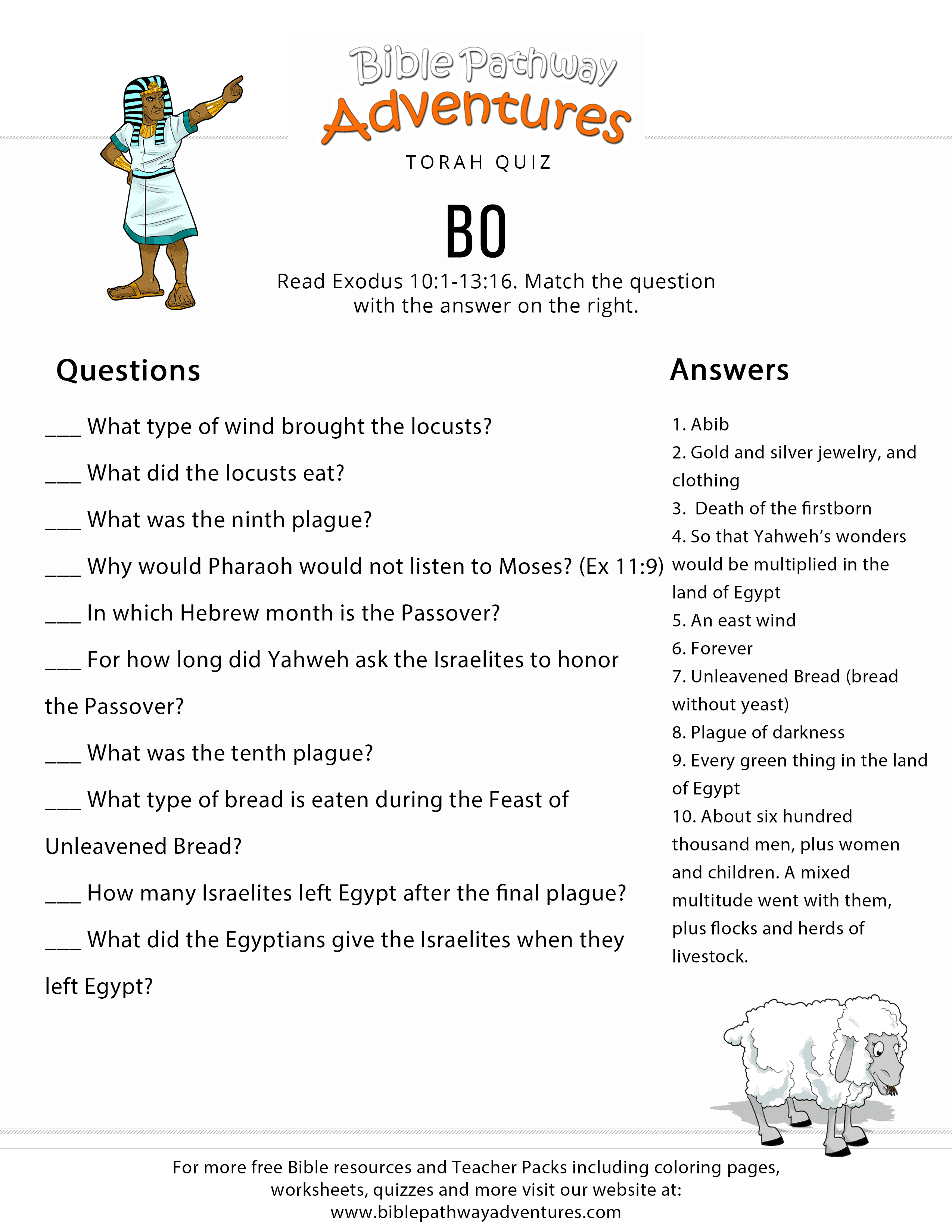 Image result for bo torah portion quiz