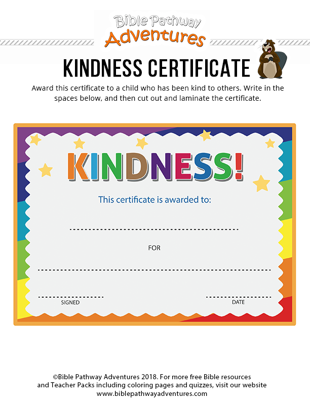 Kindness certificate Bible Pathway